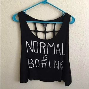 Normal Is Boring cut-out tank